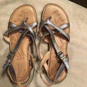 Born silver sandals size 8